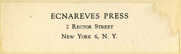 Ecnareves Press, New York, NY (102mm x 29mm, ca.1943). Courtesy of Robert Behra.