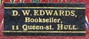 D.W. Edwards, Bookseller, Hull, England (20mm x 8mm).