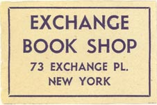 Exchange Book Shop, New York, NY (approx 37mm x 25mm)