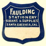 Faulding Stationery, Santa Barbara, California (25mm x 25mm). Courtesy of Donald Francis.