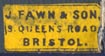 J. Fawn & Son, Bristol, England (15mm x 7mm, ca.1890). Courtesy of Robert Behra.