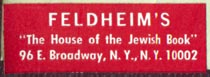 Feldheim's, New York, NY (34mm x 13mm). Courtesy of Robert Behra.