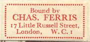 Charles Ferris [binder], London, England (29mm x 13mm, ca.1959).