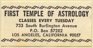 First Temple of Astrology, Los Angeles, California (50mm x 25mm). Courtesy of Donald Francis.
