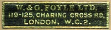 W. & G. Foyle, London, England (37mm x 9mm, after 1930).