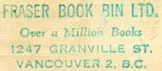 Fraser Book Bin, Vancouver BC, Canada (inkstamp, 36mm x 16mm). Courtesy of Robert Behra.