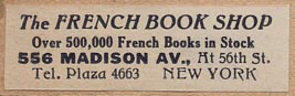 The French Book Shop, New York, NY (43mm x 13mm, ca.1926).