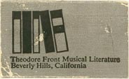 Theodore Front Musical Literature, Beverly Hills, California (approx 30mm x 18mm)