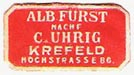 Albert Fürst (nachf. C. Uhrig), Krefeld, Germany (approx 21mm x 11mm, ca.1950). Courtesy of Michael Kunze.