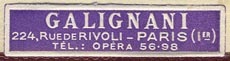 Galignani, Paris, France (37mm x 9mm, after 1960).