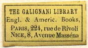 The Galignani Library, English & American Books, Paris & Nice, France (28mm x 15mm). Courtesy of Sarah Faragher.