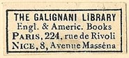 The Galignani Library, English & American Books, Paris, France (28mm x 15mm). Courtesy of S. Loreck.