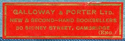 Galloway & Porter, Cambridge, England (41mm x 13mm, ca.1925?)