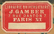 J.Gamber, Librairie Universitaire, Paris, France (31mm x 19mm, ca.1890s)