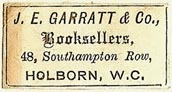 J.E. Garratt & Co., Booksellers, London, England (28mm x 14mm)