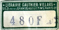 Librairie Gauthier-Villars, Paris, France (34mm x 18mm, ca.1944)