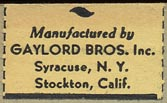 Gaylord Bros., Pamphlet Binders, Syracuse, NY and Stockton, California (27mm x 16mm, ca.1950s)