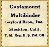 Gaylord Bros., Stockton, California (27mm x 26mm, before 1948)