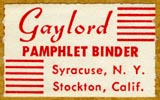 Gaylord Bros., Pamphlet Binders, Syracuse, NY and Stockton, California (26mm x 16mm, before 1963)