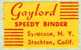 Gaylord Bros., Pamphlet Binders, Syracuse, NY and Stockton, California (26mm x 16mm, before 1965)