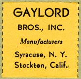 Gaylord Bros., Pamphlet Binders, Syracuse, NY and Stockton, California (26mm x 26mm, before 1953)