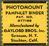 Gaylord Bros., Pamphlet Binders, Syracuse, NY and Stockton, California (27mm x 26mm, before 1968)