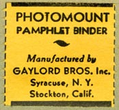 Gaylord Bros., Pamphlet Binders, Syracuse, NY and Stockton, California (27mm x 26mm, before 1956)