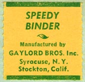 Gaylord Bros., Pamphlet Binders, Syracuse, NY and Stockton, California (27mm x 26mm, before 1976)
