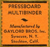 Gaylord Bros., Pamphlet Binders, Syracuse, NY and Stockton, California (27mm x 26mm)
