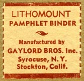 Gaylord Bros., Stockton, California & Syracuse, New York (26mm x 26mm, before 1966)