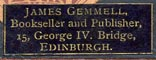 James Gemmell, Bookseller & Publisher, Edinburgh, Scotland (25mm x 9mm)