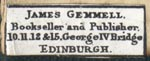 James Gemmell, Edinburgh, Scotland (24mm x 9mm, ca.1880?)