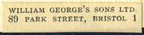 William George's Sons, Bristol, England (33mm x 7mm, after 1919)