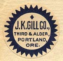 J.K. Gill Co., Portland, Oregon (20mm dia.).