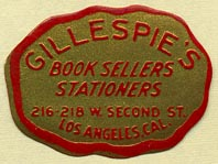 Gillespie's, Booksellers - Stationers, Los Angeles, California (32mm x 23mm)