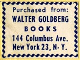 Walter Goldberg Books, New York (26mm x 19mm)