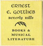Ernest E. Gottlieb, Books & Musical Literature, Beverly Hills, California (23mm x 25mm, before 1961)
