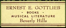 Ernest E. Gottlieb, Books & Musical Literature, Beverly Hills, California (37mm x 15mm)