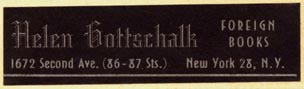 Helen Gottschalk, Foreign Books, New York, NY (51mm x 13mm)