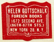 Helen Gottschalk, Foreign Books, New York, NY (28mm x 22mm, ca.1948)