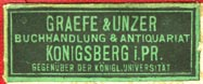 Graefe & Unzer, Buchhandlung & Antiquariat, Konigsberg, Prussia [now Kaliningrad, Russia] (31mm x 13mm, before 1945). Courtesy of Robert Behra.