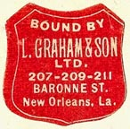 L. Graham & Son (binders), New Orleans, Louisiana (22mm x 24mm). Courtesy of S. Loreck.