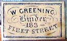 W. Greening, Binder, London, England (21mm x 12mm, ca.1880)