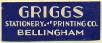 Griggs Stationery and Printing Co., Bellingham, Washington (33mm x 13mm)