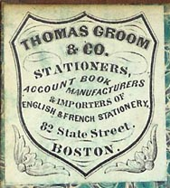 Thomas Groom & Co, Boston (30mm x 35mm, ca.1885). Courtesy of Peter Christian Pehrson.