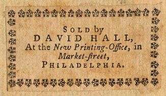 David Hall, Philadelphia, Pennsylvania (52mm x 28mm, 1762).