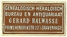 Gerard Halwasse, Genealogisch-Heraldisch Bureau en Antiquariaat, The Hague, Netherlands (35mm x 18mm). Courtesy of S. Loreck.
