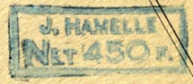 J. Hamelle, Paris, France (inkstamp, 34mm x 14mm). Courtesy of R. Behra.