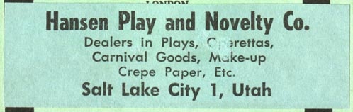 Hansen Play and Novelty Co., Salt Lake City, Utah (83mm x 26mm)