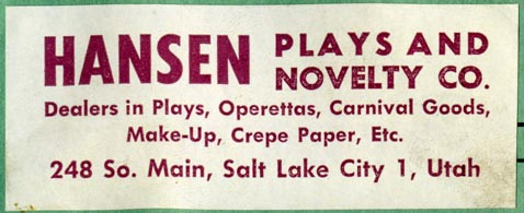Hansen Plays and Novelty Co., Salt Lake City, Utah (80mm x 32mm)